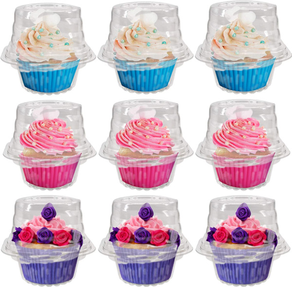 50 Pack Individual Cupcake Boxes Connected Single Clear Plastic Cupcake Contain