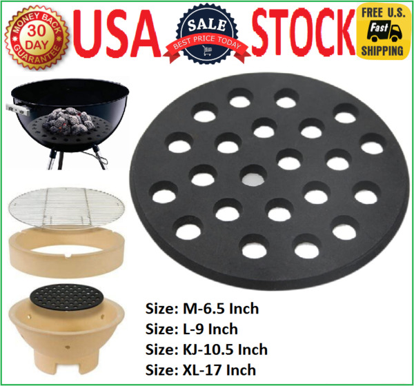 Round Cast Iron Fire Grate Grill Outdoor Heat Charcoal Plate for Big Green Egg $74.99