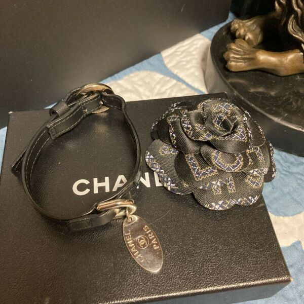 CHANEL Dog Collar For Small Dog Leather With Silver Charm F S From JAPAN $760.00