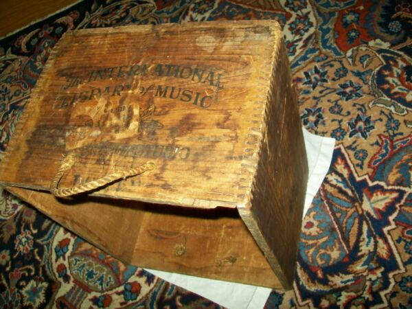 Wood Vintage Antique Box Shipping Crate Music Storage Shelf twine rope handles