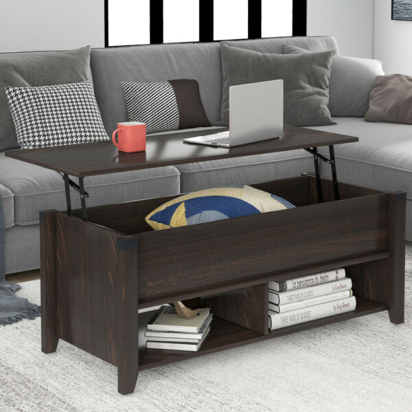 Wooden Coffee Table Lift Top up Desk W Storage Drawer Shelf Home Furniture