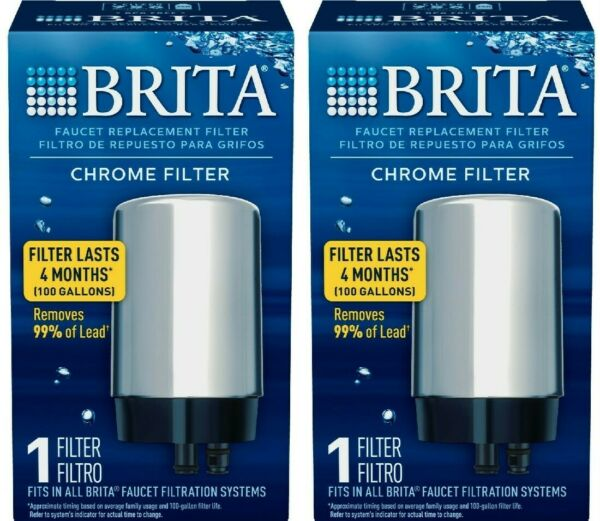 Brita Tap Water Faucet Filter Replacement FR 20 Lot of 2 Chrome Brand New In Box