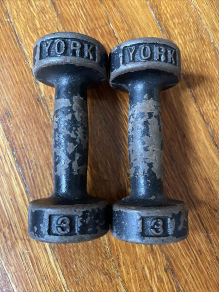 Vintage York 3 Pound Dumbbells Roundhead 2 X 3 Lb ea Weights 6 Lbs Total $25.00