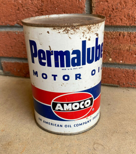 PERMALUBE Motor Oil AMOCO 1 Quart Gas Service Station Tin Can Vintage $44.95