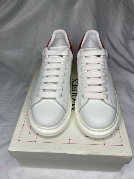 Men's Alexander McQueen White and Red Sneakers