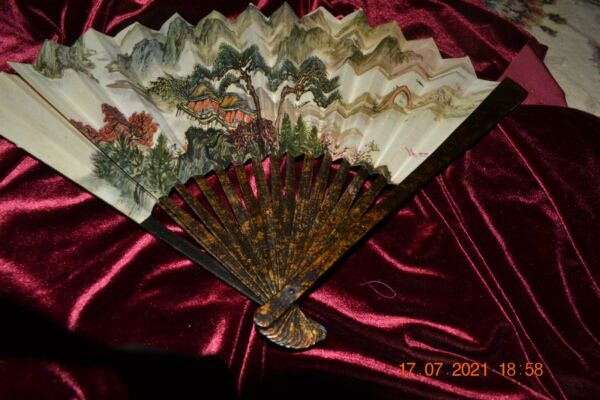 Vintage Hand painted paper wood Fan Mountains Trees MOTIF China 11 $14.99