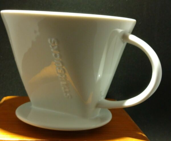 Starbucks Pour Over Drip Filter Coffee Ceramic White Cone Holder Over Mug Cup #4