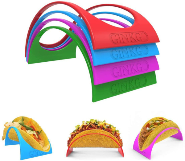 Taco Holder Stand up Set of 12 with 4 Colorful Shell Holder Plate Protector $10.53