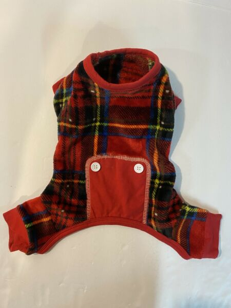 Dog Plaid PJs Soft With Buttons Red Size XS Very Good Condition $9.99