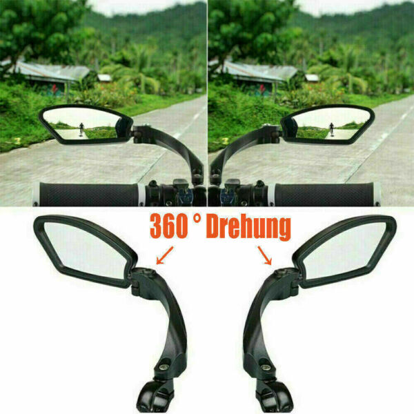 Universal Bicycle Bike Cycle Handlebar LeftRight Rearview Mirror Rectangle Back $20.96