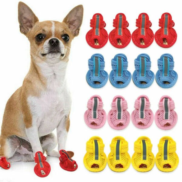 4x Dog Boots Spring Park Small Pet Dog Shoes For Cotton Breathable Mesh Sandals $9.43