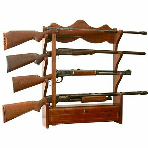 New Classic Designed Solid Wooden 4 Gun Wall Rack with Fully locking Drawer $78.99