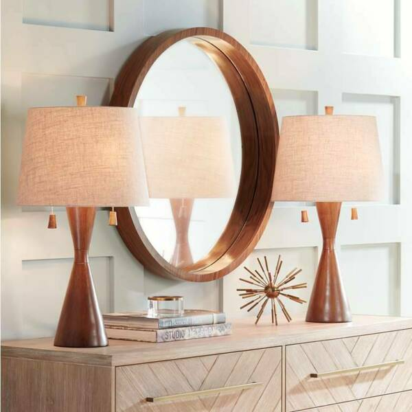 Mid Century Modern Table Lamps Set of 2 Brown Wood for Living Room Bedroom $139.90
