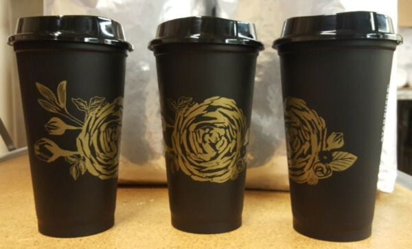 🍊FALL 2021🍊 Starbucks 16oz reusable hot cup with gold rose amp; black lid NEW