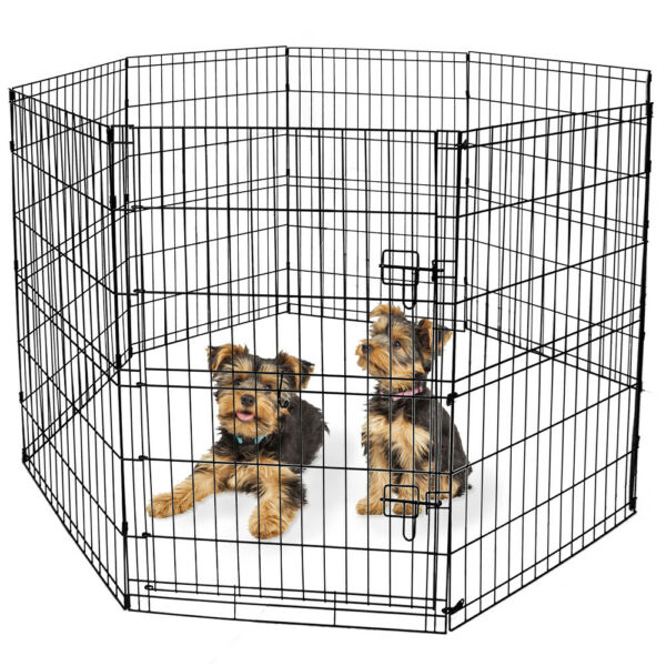 36#x27;#x27; H Medium Dog Play Pen 8 Panels Large Crate Portable Exercise Cage Pet Fence