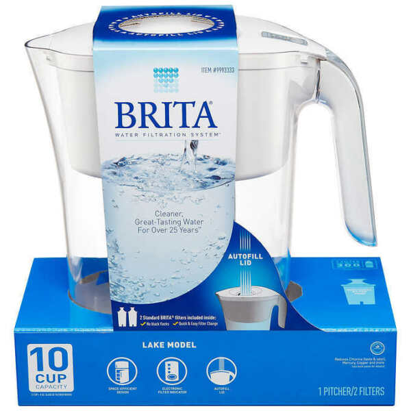 Brita Lake Model White 10 Cup 1 Pitcher With 2 Filters Included Inside