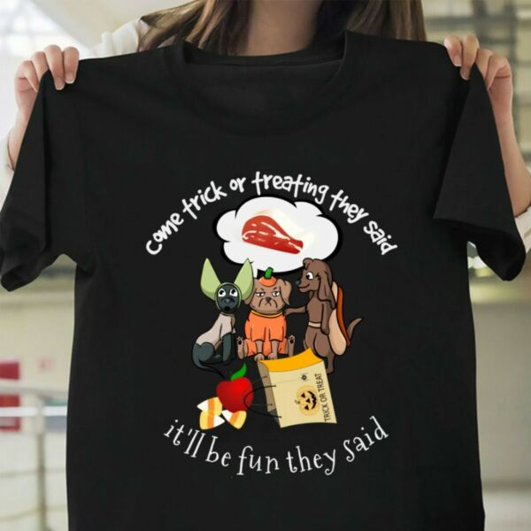 Halloween Dogs Trick or Treating T Shirt Cute Dog Gift Unisex Shirt All Size $13.99