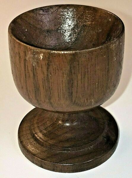 Antique Treen Egg Cup Turned Wooden Chalice shaped Holder Victorian Vintage