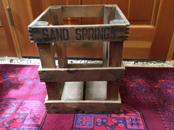 Antique Wooden Sand Springs Dovetailed Water Crate Box Williamstown Ma.