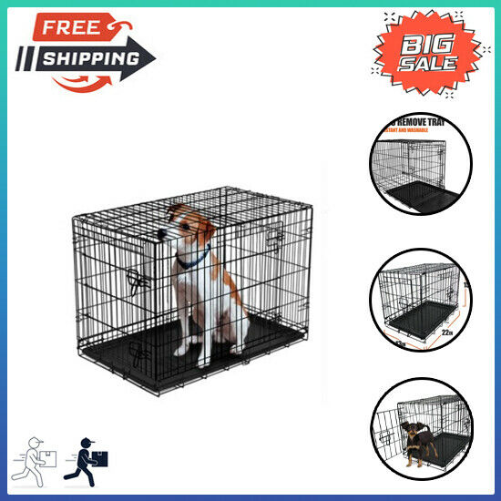22quot; Double Door Folding Dog Crate with Divider Pet#x27;s Home Steel Frame SALE $19.97
