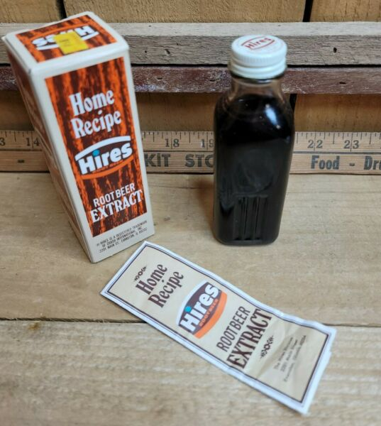 Vintage Hires Root Beer Extract with Home Recipe Perfectly Preserved for Display