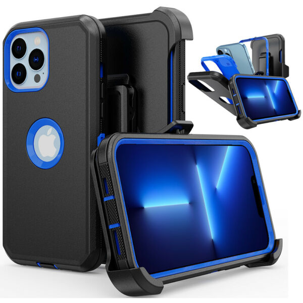 For iPhone 11 12 13 Pro Max XR XS MAX Case Shockproof Rugged W Belt Clip Cover $8.56