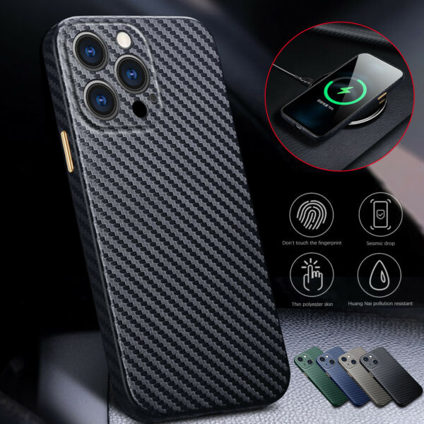 Carbon Fiber Slim Leather Case Cover For iPhone 13 Pro Max 12 11 XS XR 8 7 Plus $11.63