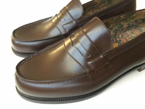 J.M. Weston Brown Leather 180 Penny Loafer Uk 7.5 US 8.5 Made In France $950