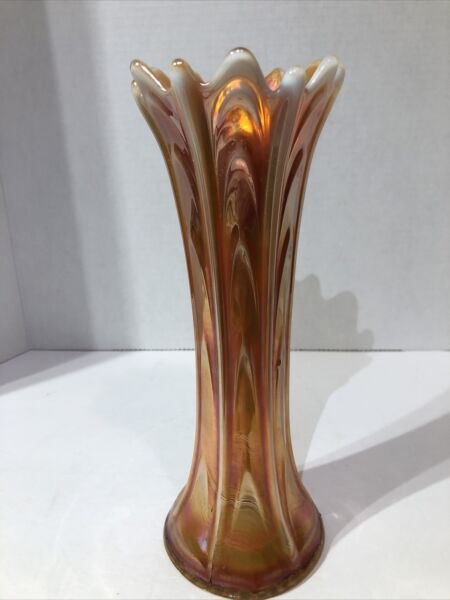 Dugan Carnival Glass Pulled Loop Marigold Opalescent Swung Vase 10quot;