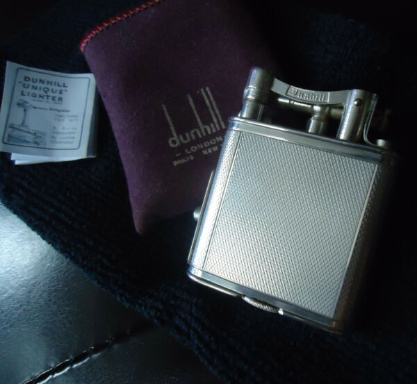 Dunhill Unique PIPE Lighter Silver Plated Barley Pattern Original Slip Case GBP 385.00