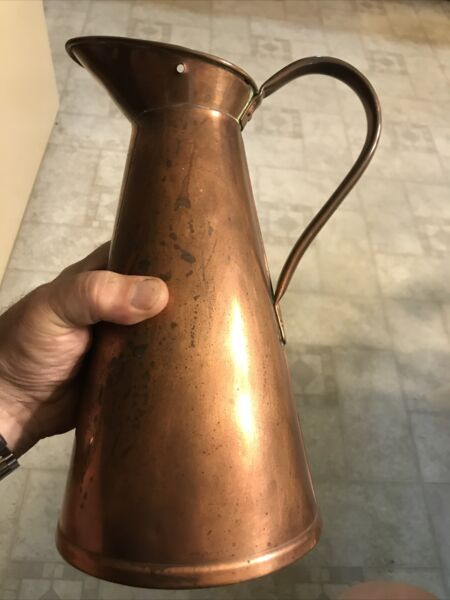 18th Century Early 19th Century Signed American Copper Measure Pitcher ISamp;SB $135.00