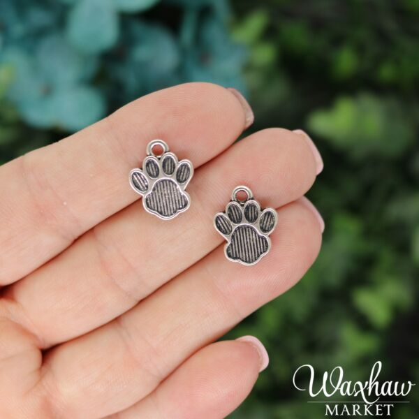 10 Dog Paw Charms Antique Silver Tone Charms B 160 $3.99