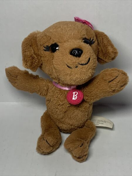 """Just Play Barbie 6"""" Great Puppy Adventure Plush Brown Dog Pink Bow Toy $9.00"""