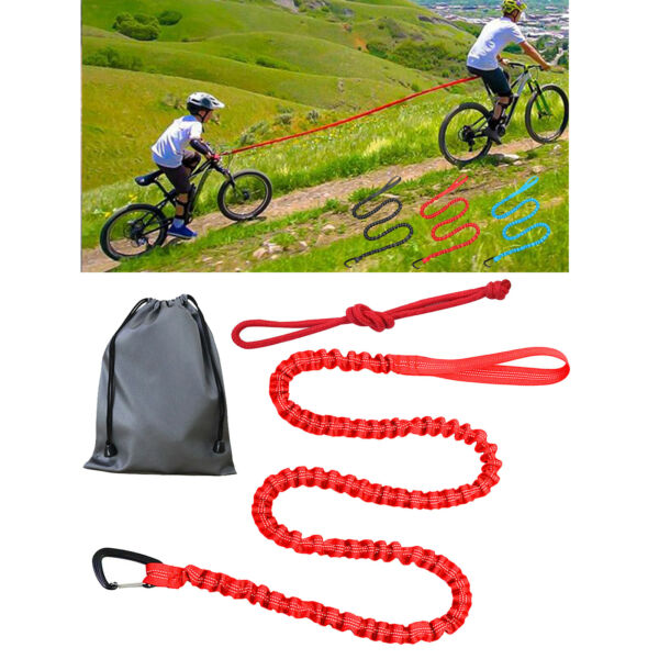 Bike Tow Rope Bungee Tow Strap MTB Trailer Bike Pull Strap Red $16.70