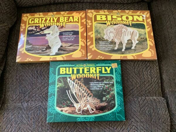 3 WOOD KITS Animals BISON BUTTERFLY GRIZZLY Crafts Education Action Products $21.99