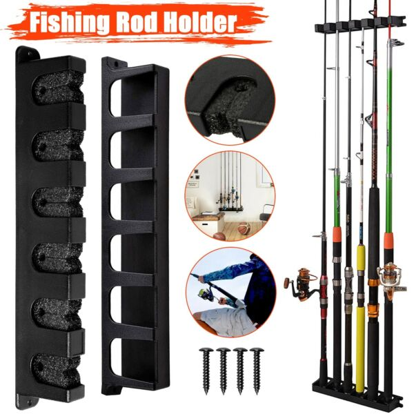 Fishing Rod Rack Vertical Holder Horizontal Wall Mount Boat Pole Stand Storage $14.48