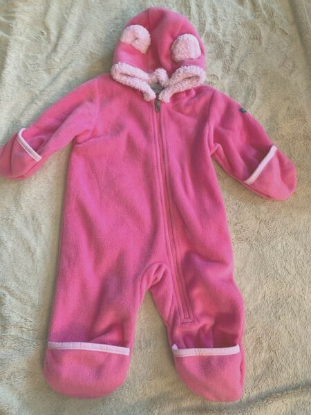 PINK COLUMBIA BUNTING WESTERN BARLOW FLEECE FOOTED COVERALL 3 6 MONTHS