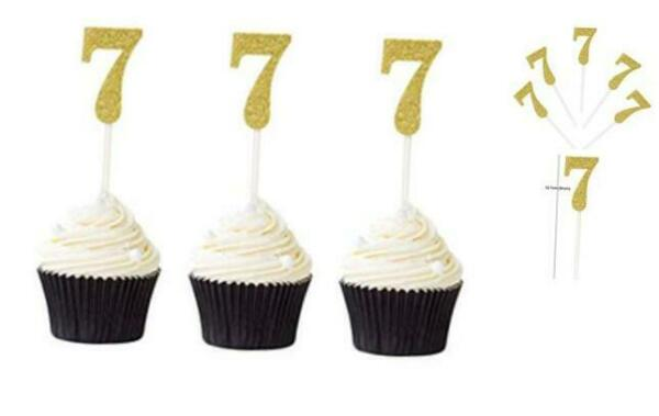 Pack of 24 Number 7 Cupcake Toppers Gold Glitter 7th Birthday Cupcake Picks