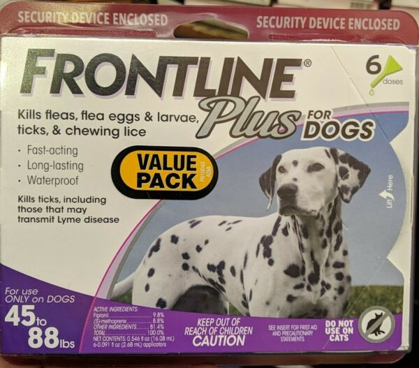 Frontline Plus Flea amp; Tick Control for Large Dog 44 88 lbs 6 DOSES New $34.99