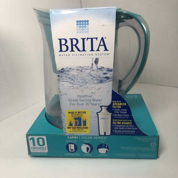 Brita 10 Cup Water Pitcher 80oz Filtration System Turquoise Factory Sealed