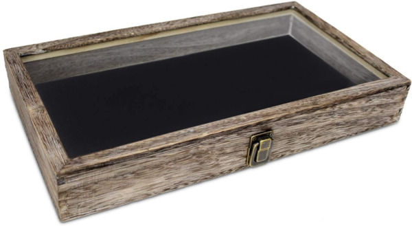 Wood Glass Top Jewelry Display Case Wooden Jewelry Tray for Collectibles Coffee $29.10