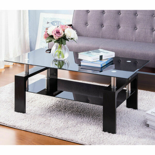 Black Highlight Glass Top Cocktail Coffee Table with Wooden Legs Living Room US