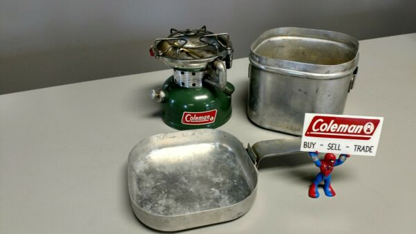 Coleman Stove 502 With Cook Kit Works