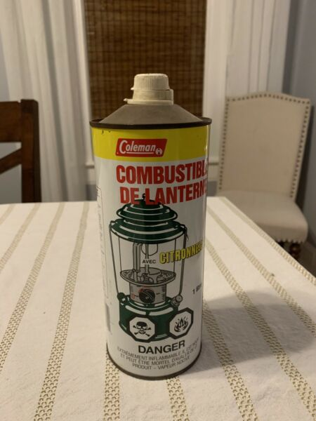 Vintage Coleman Stove amp; Lantern Fuel 1 Liter Tin Can Empty RARE Canadian Canada