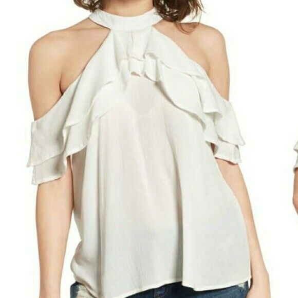 nwt $55 BAND OF GYPSIES ruffle cold shoulder blouse XS off white halter top new $25.99
