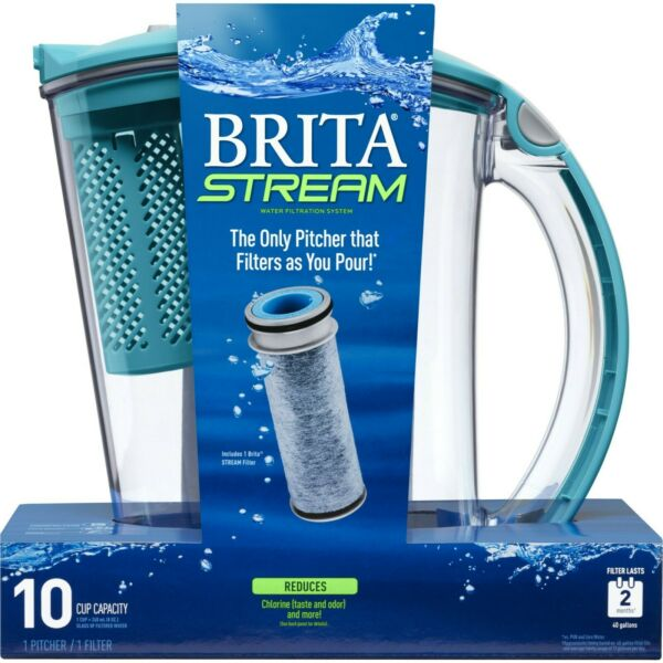 Brita Stream Filter as You Pour Water Pitcher 10 Cup