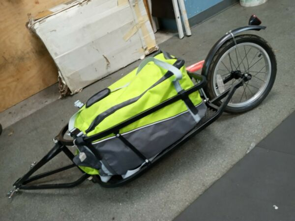 Single 16quot; wheel pull behind cargo bike trailer with removable bag. $120.00