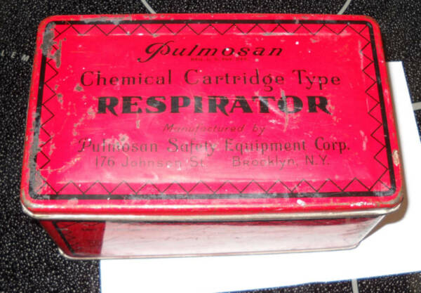 PULMOSAN RESPIRATOR CONTAINER SAFETY EQUIPMENT NEW YORK