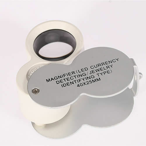 Mini 40X 25mm Power Magnifying Glass LED Illuminate Jeweller Loupe