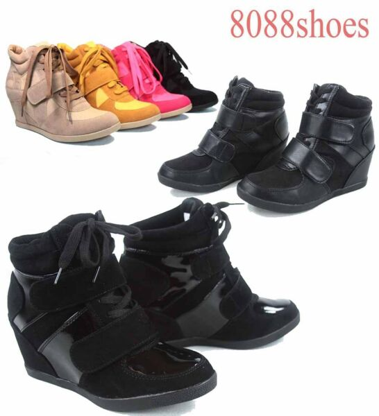 Women's Lace High Top Fashion Sneaker Hidden Wedges Shoes Size 5.5 - 10
